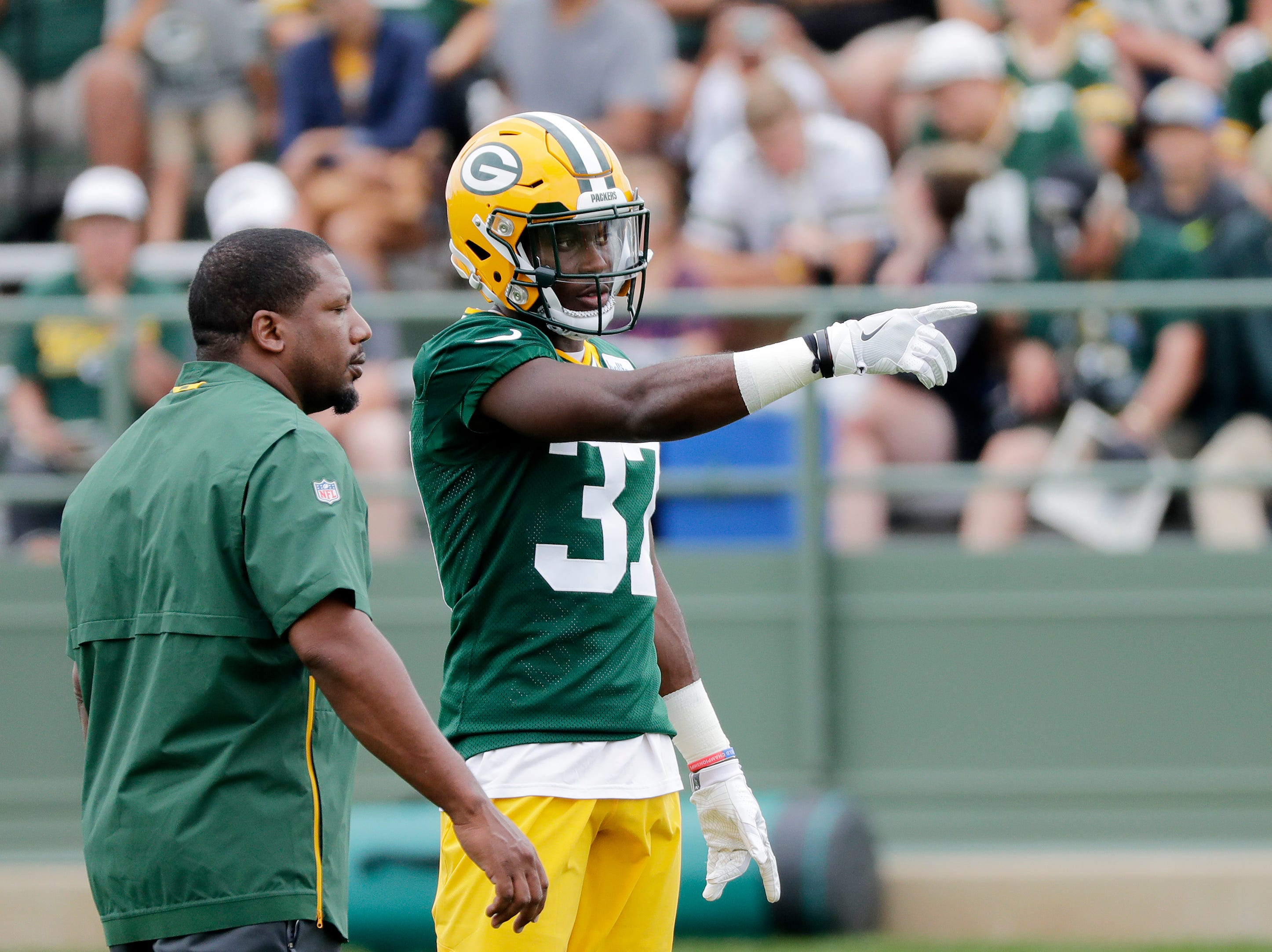 Green Bay Packers cornerback Josh Jackson (37) works on a drill during training camp practice at Ray Nitschke Field on Thursday, July 26, 2018 in Ashwaubenon, Wis. 