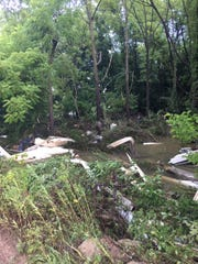 Debris from damaged houses in the Codorus Creek on July 26 in the area of Porters and Brown roads.