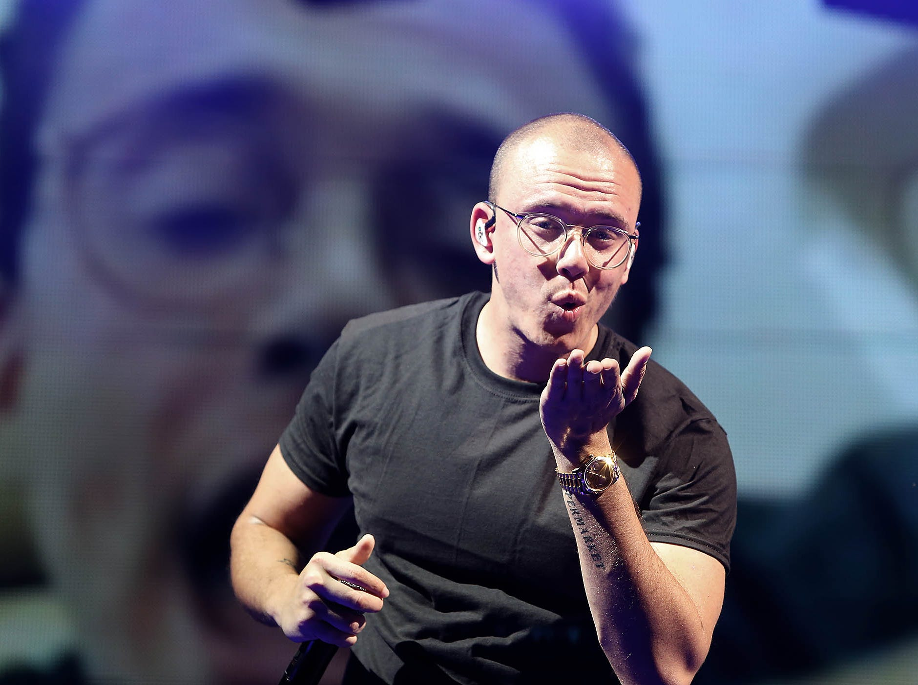 Logic blows a kiss to the crowd during The Bobby Tarantino vs Everybody Tour performance at Ak-Chin Pavilion in Phoenix on Wednesday, July 25, 2018.