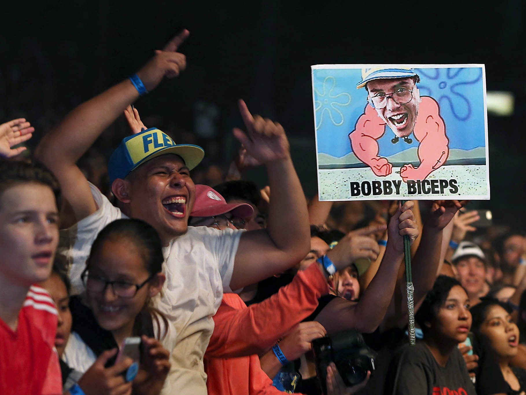 Fans cheers Logic as he performs during The Bobby Tarantino vs Everybody Tour at Ak-Chin Pavilion in Phoenix on Wednesday, July 25, 2018.