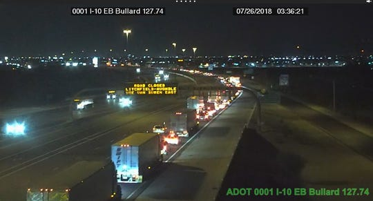 Eastbound Interstate 10 in Avondale was closed after a shooting July 25, 2018, in which a DPS trooper was killed.