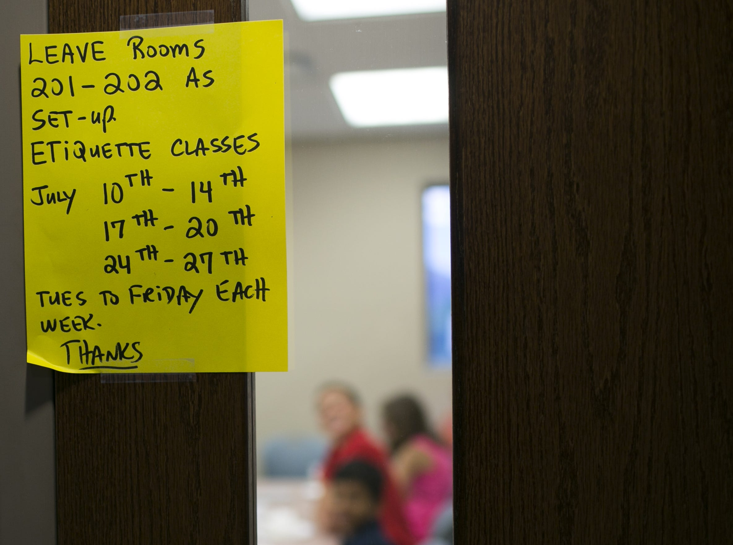 An class is held for kids aged 9-13 at the St. Bernard of Clairvaux Church in Scottsdale, Ariz. on Fri. July 20, 2018.  Brown started the  program with the aim to teach kids, adults and companies on proper manners and social etiquette.