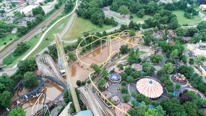 Flooding continues at Hersheypark on July 25, 2018.