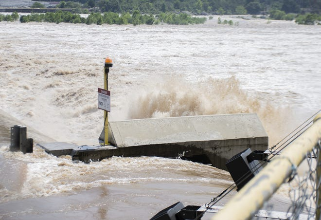View of the Holtwood Dam on Thursday, July 26, 2018. The water of the Susquehanna River is moving at 372,000 cubic feet per second. A representative of Holtwood Dam said everything is moving according to plan.