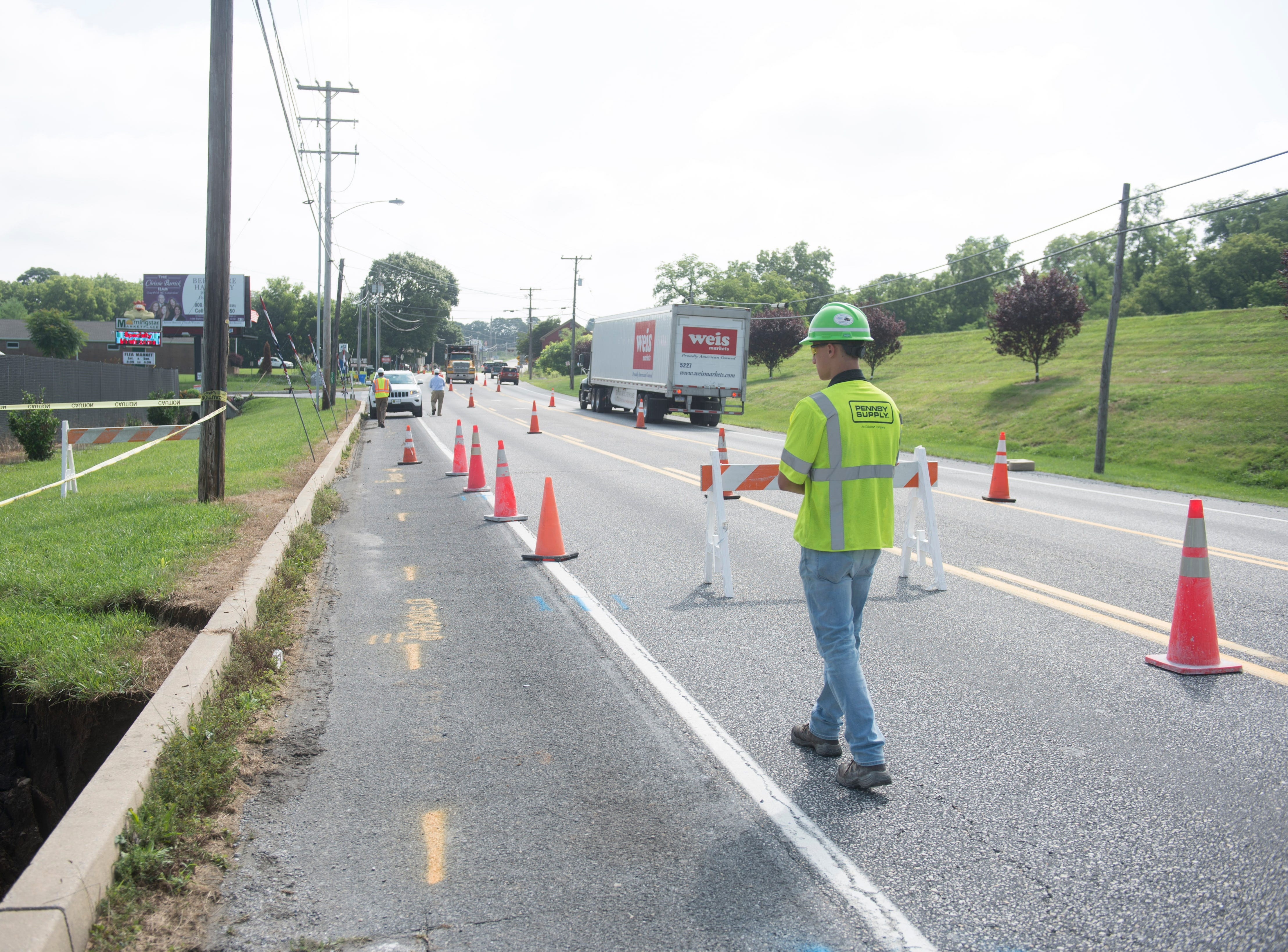 Route 30 is open, but traffic is being diverted around a sinkhole near Thomasville, just east of Biesecker Road in Jackson Township.