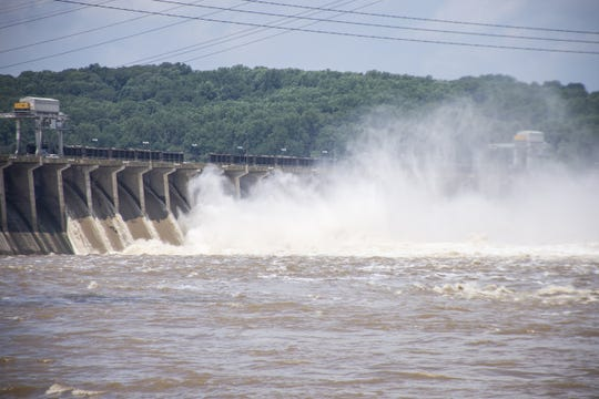 View of the Conowingo Dam in Darlington, Maryland on Thursday, July 26, 2018. Between 18 to 25 shoreline gates were expected to be open.