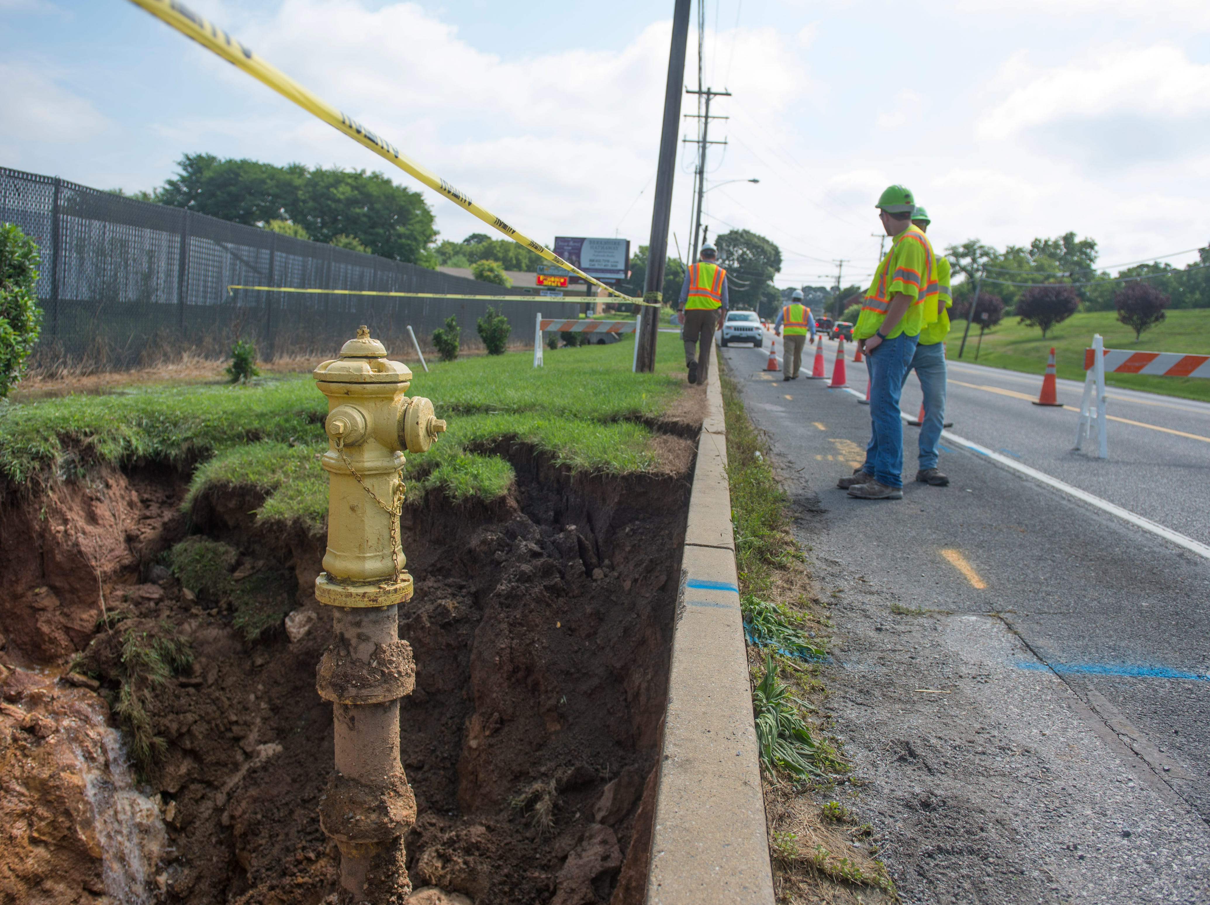 A fire hydrant was washed out due to the sink hole near Route 30 in Thomasville on July 26, 2018.
