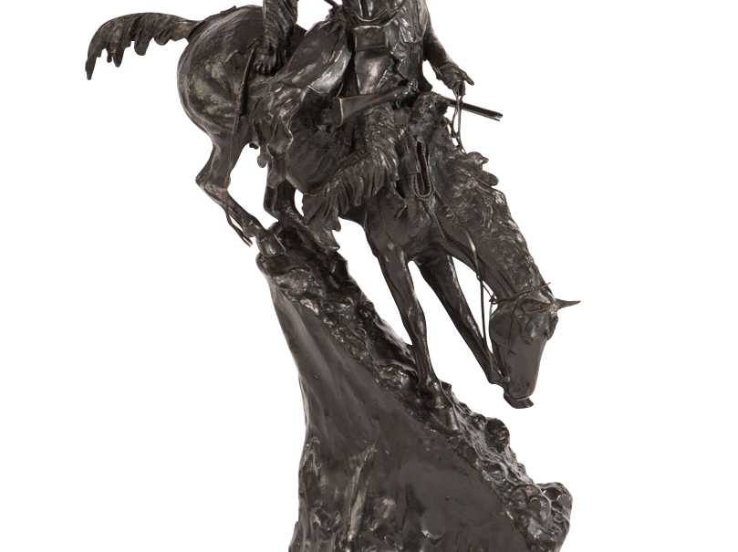 """The Mountain Man,"" casting #36, circa 1918 by Frederic Remington, estimated at up to $250,000, to be auctioned July 28, 2018 as part of the Coeur d'Alene Art Auction in Reno."