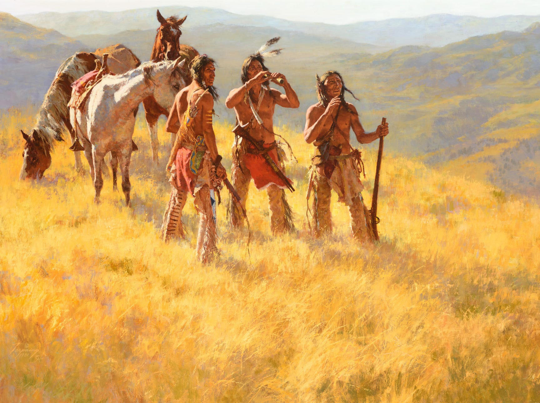 """""""Dust of Many Pony Soldiers,"""" 1981 by Howard Terpning, valued at up to $1.2 million, to be auctioned July 28, 2018 as part of the Coeur d'Alene Art Auction in Reno."""