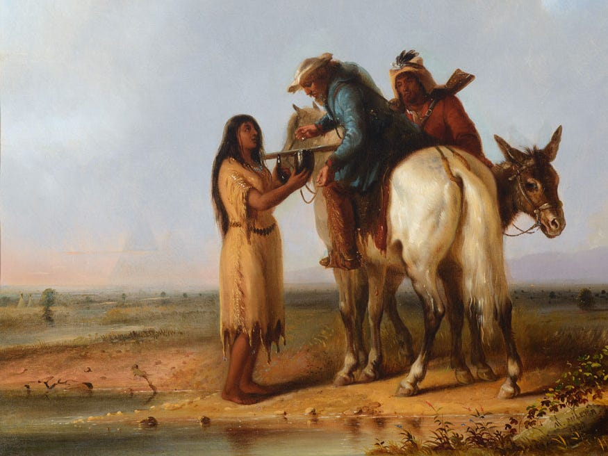 """The Thirsty Trapper"" By Alfred Jacob Miller is estimated at up to $2.5 million, to be auctioned July 28, 2018 as part of the Coeur d'Alene Art Auction in Reno."