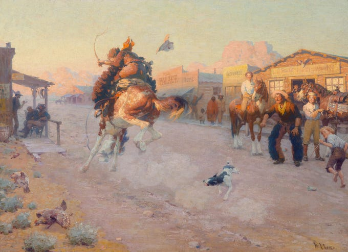 """Embarrassed (Range Pony in Town),"" circa 1910, estimated at up to $1.5 million, to be auctioned July 28, 2018 as part of the Coeur d'Alene Art Auction in Reno."