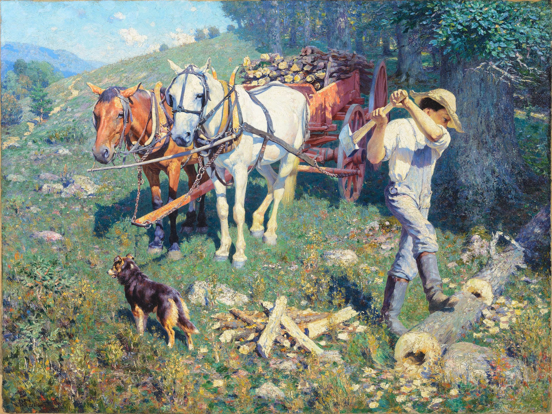 """West Virginia Woodchopper"" by William r. Leigh, valued at up to $500,000, to be auctioned July 28, 2018 as part of the Coeur d'Alene Art Auction in Reno."