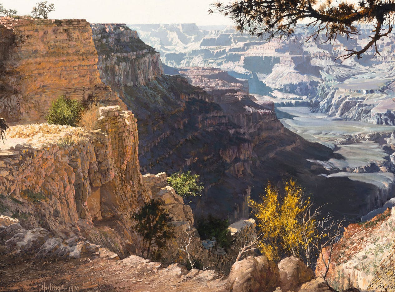 """Grand Canyon,"" 1970, by Clark Hulings, valued at up to $30,000, to be auctioned July 28, 2018 as part of the Coeur d'Alene Art Auction in Reno."