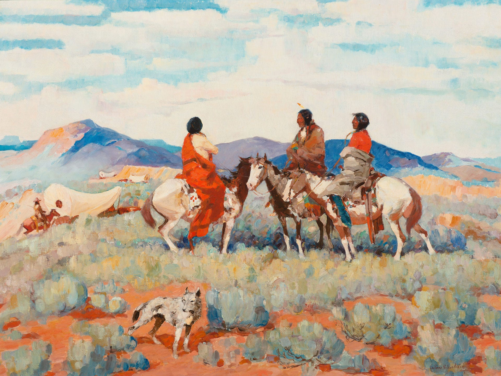 """Along the Old Trail"" by LaVerne Nelson Black, valued at up to $250,000, to be auctioned July 28, 2018 as part of the Coeur d'Alene Art Auction in Reno."