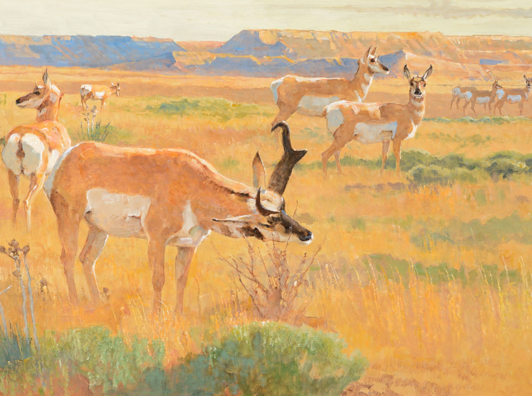 """Marking the Territory,"" 2005 by Bob Kuhn, valued at up to $250,000, to be auctioned July 28, 2018 as part of the Coeur d'Alene Art Auction in Reno."