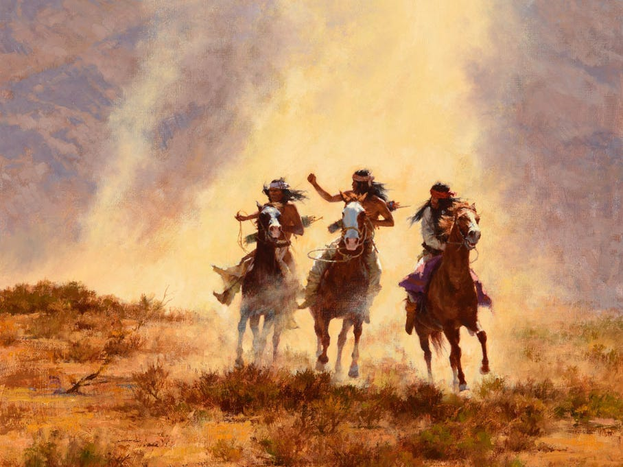"""Chased by the Devil,"" 1990 by Howard Terpning, valued at up to $600,000, to be auctioned July 28, 2018 as part of the Coeur d'Alene Art Auction in Reno."