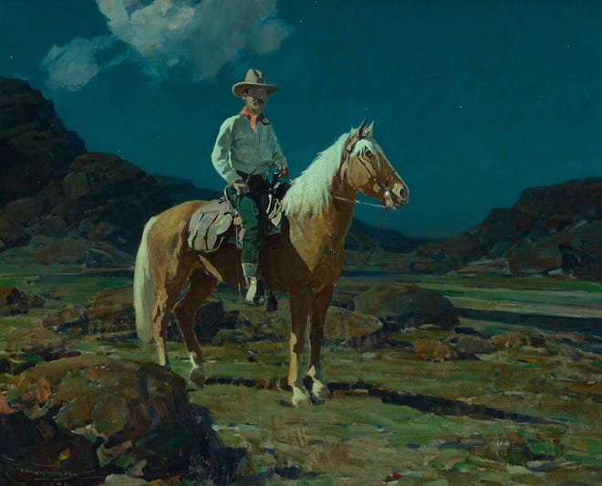"""This painting by Frank Tenney Johnson, """"Moonlight on the Ranch,"""" was sold at the Coeur d'Alene Art Auction in Reno for $142,800. Another Johnson painting, """"The Sun and the Rain,"""" was the subject of a defamation lawsuit filed against the auction and Peter Stremmel Galleries. A judge threw out that lawsuit in August. 2018."""