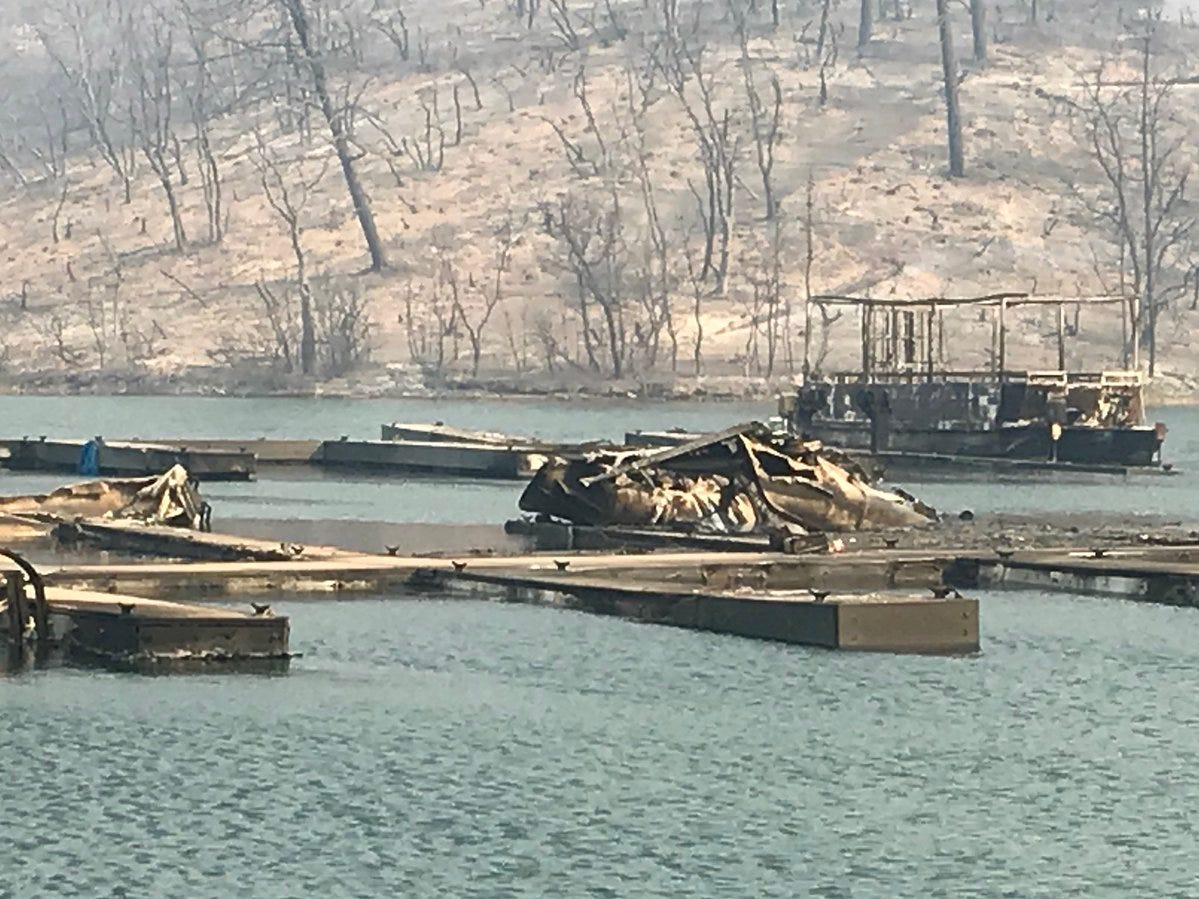 The Carr Fire on Thursday, July 26, 2018 destroyed 40 boats at Oak Bottom Marina at Whiskeytown National Recreation Area.