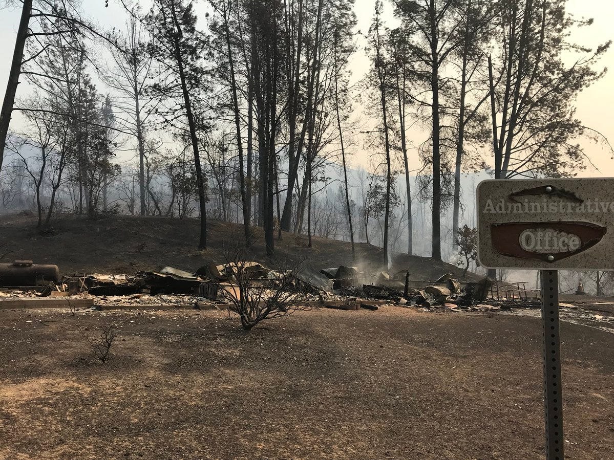 The Carr Fire on Thursday, July 26, 2018 burned to the ground the concessionaire administrative building and workshop at Oak Bottom Marina gone.