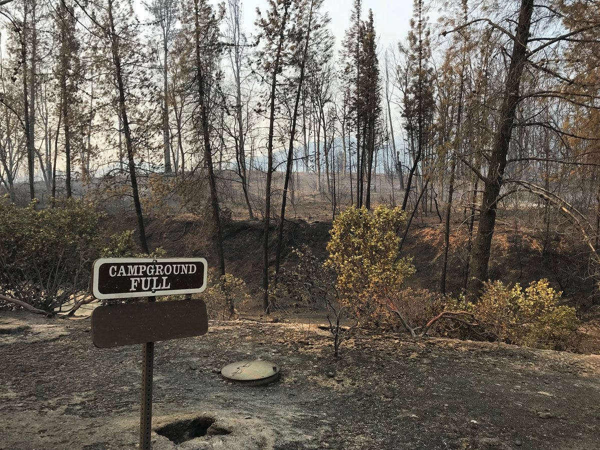 The Carr Fire on Thursday, July 26, 2018 scorched a campground in the Whiskeytown area.