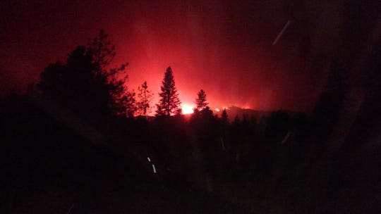 A reader took this photo around 12:20 a.m., July 26, 2018 from the corner of Rock Creek Road and Benson Drive in the Keswick and Shasta communities.