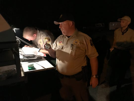 Shasta County Sheriff's Sgt. Rob Sandbloom on Thursday, July 26, 2018 was stationed in Old Shasta to assist people who had to evacuate overnight because of the Carr Fire and keep track of officers who are in the fire area. The California Department of Forestry and Fire Protection is fighting the fast-moving fire with the assistance of other fire protection agencies.