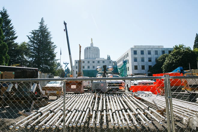 Construction at the Oregon State Capitol is underway for the Capitol Accessibility, Maintenance and Safety project on Thursday, July 26, 2018. The project was approved by the legislature in 2016 and costs $59.9 million.