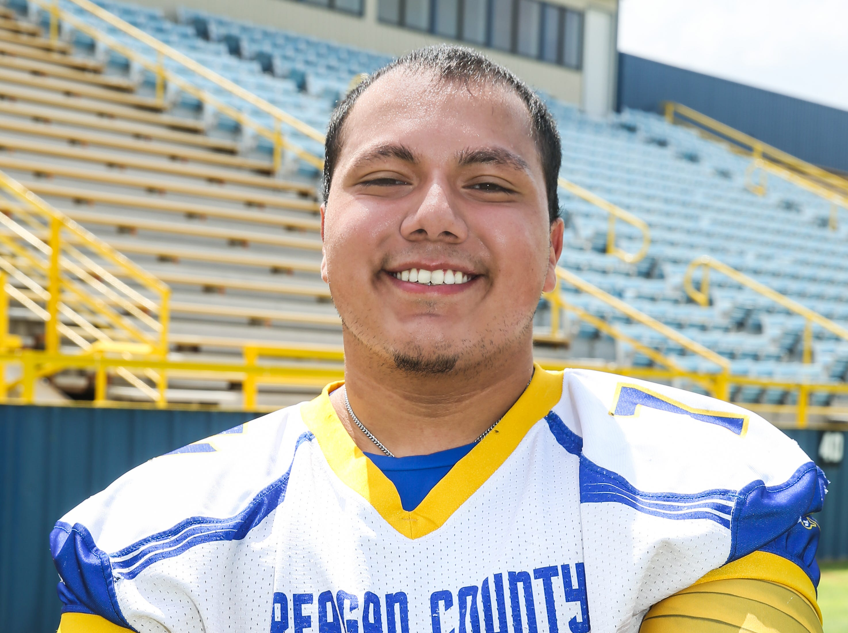 Tristan Ortiz, Reagan County, Offensive lineman, 5-11, 270, Sr.  Scouting report: Ortiz may be the strongest lineman in all of West Texas. He broke the state powerlifting record last spring with an 820-pound squat. He graded out at 94 percent and recorded 64 pancake blocks to earn honorable mention all-state honors.