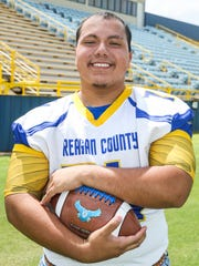 Reagan County offensive lineman Tristan Ortiz broke the state powerlifting record last spring with an 820-pound squat.
