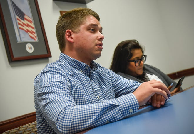 Republican National Committee Director of Turnout and Targeting Brian Parnitzke talks about the processes used to collect voter data during an interview Thursday, July 26, in St. Cloud.