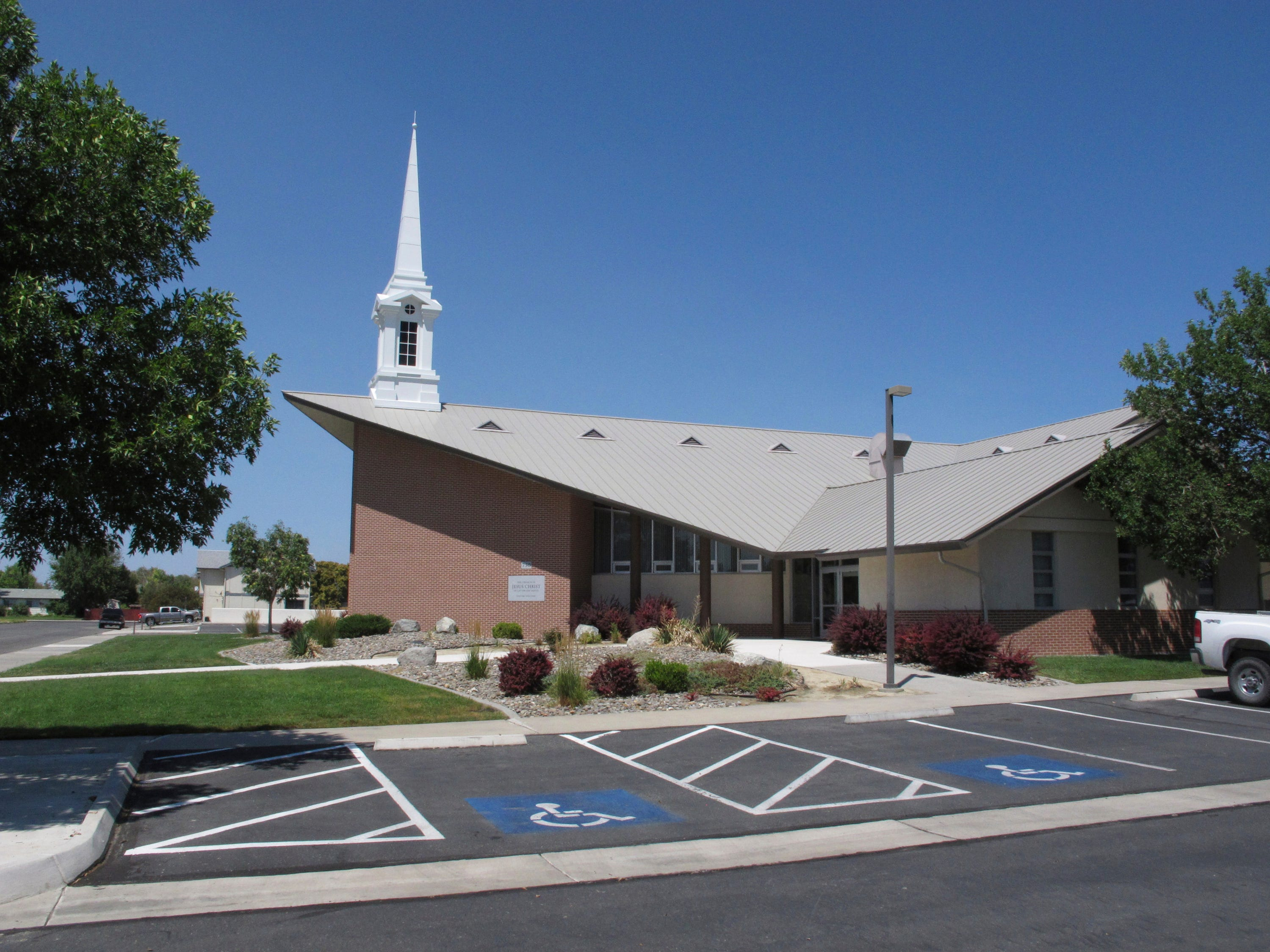 The Mormon church where a longtime rural Nevada volunteer firefighter was fatally shot during Sunday services the day before is pictured in this photo taken Monday, July 23, 2018, in Fallon, Nevada.