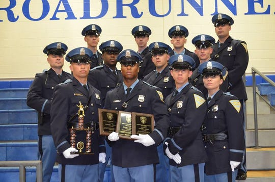 The Vineland Police graduates in the 52nd class of the Gloucester County Police Academy.  Front row (left to right): Lukkas Perez, Emmory Bowens, Francisco Ledesma and Ashley Arocho Middle Row: Aaron Lane, Kenneth Farmer, Richard Acosta and David Owens Jr. Back row: Christian Morales, Adam Pooley, Tyler Flanegan and  Michael Bender Not pictured: Luis Vazquez Jr.