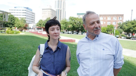 Amelia Winger-Bearskin, director of Interactive Digital Environments Alliance (IDEA) and Ralph DiBart, executive director of the New Rochelle Downtown Business Improvement District, at Library Green Park in New Rochelle on July 26, 2018.