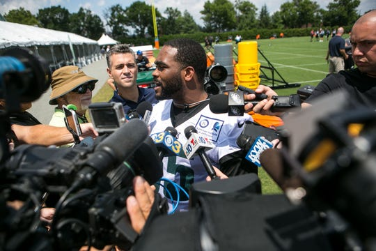 Eagles defensive end Brandon Graham is interviewed after practice. The Super Bowl Champions Philadelphia Eagles begin their first practice of training camp at the NovaCare Complex in Philadelphia.