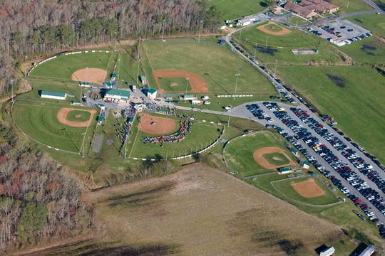 An aerial view of Lower Sussex Little League fields in Roxana.