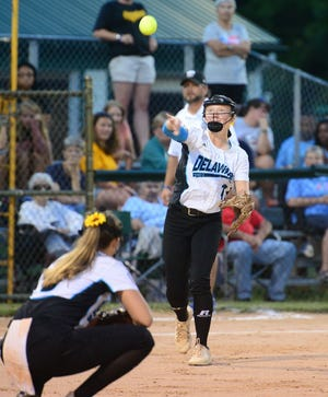 Delaware District III's Kylie Kruger makes a play to first to get a Southwest runner out during the Senior League World Series last August in Roxana. Kruger and her Georgetown team are back to defend their title starting Monday.
