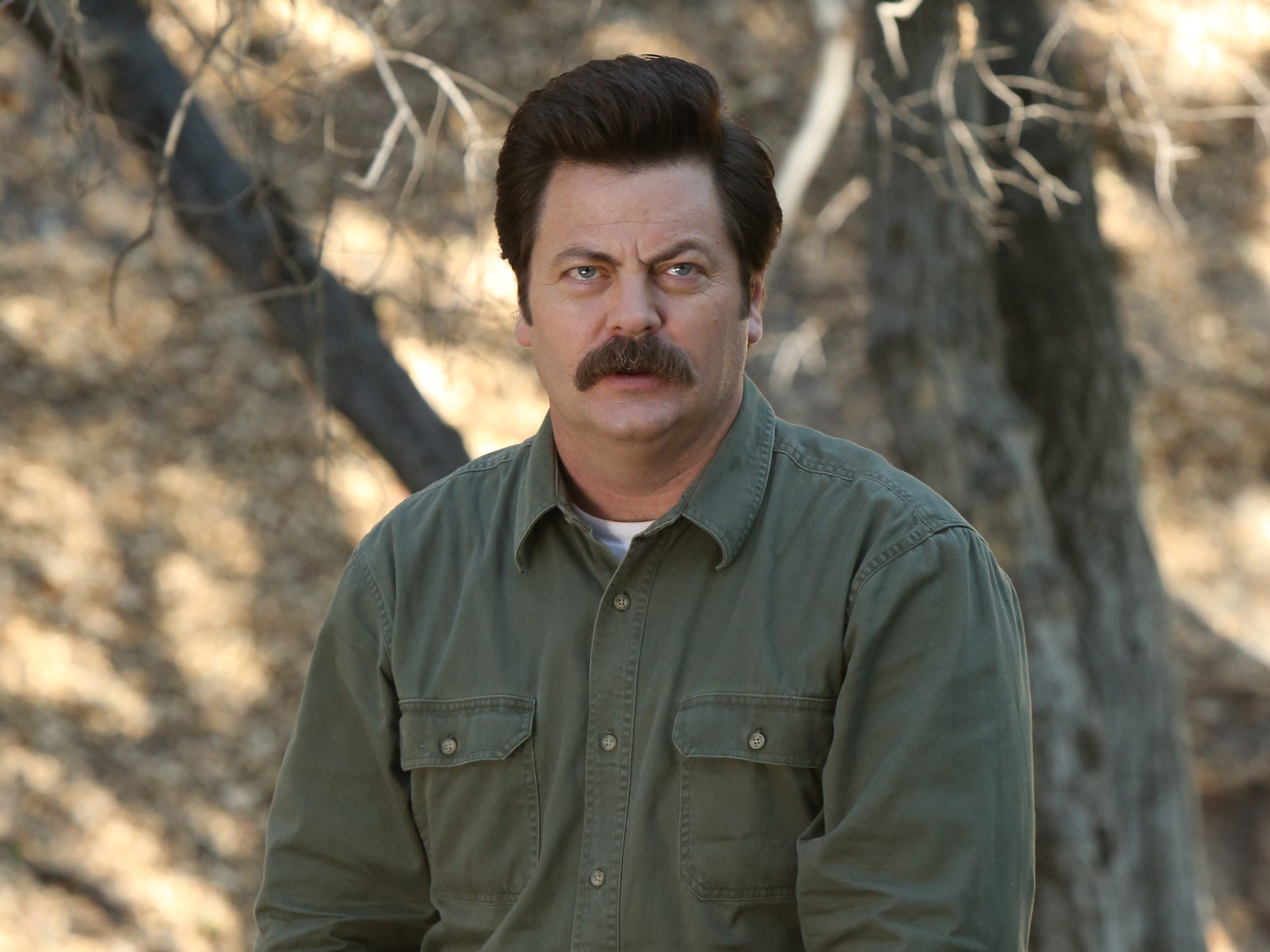 Nick Offerman played Ron Swanson, the cantankerous director of Pawnee's parks and rec department.