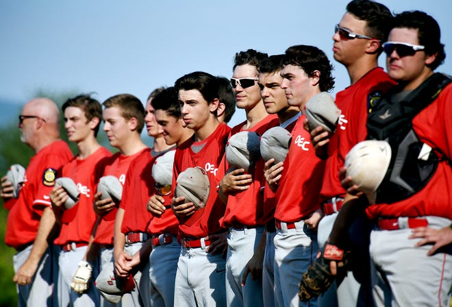 The OEC Kings stand for the national anthem before a game against S.D. Ireland earlier this season.