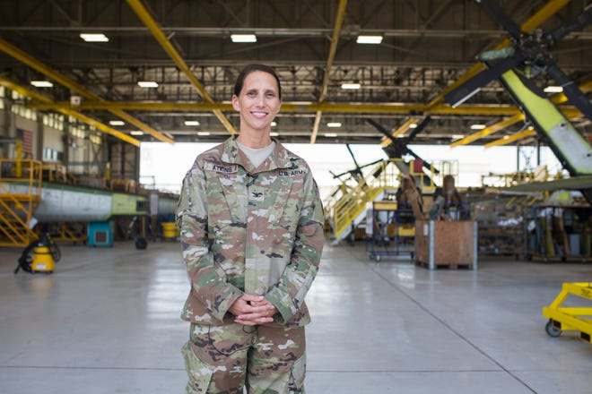 Corpus Christi Army Deport Commander Col. Gail Atkins poses for a photo in a hanger on Friday, July 27, 2018.