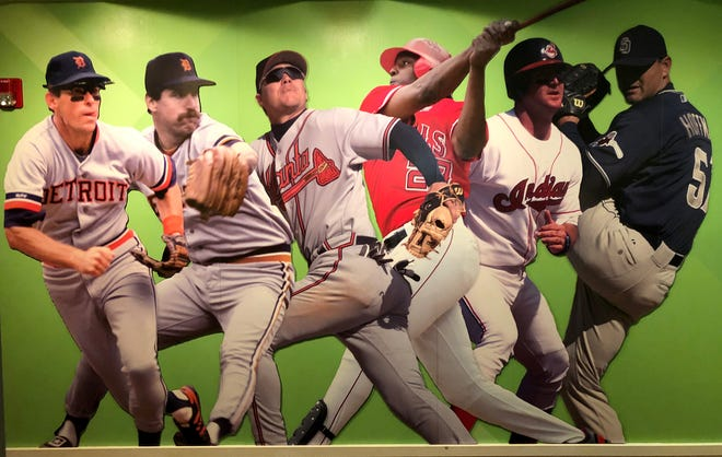 A display of the six Major League Baseball players that make up the Class of 2018 inside the National Baseball Hall of Fame in Cooperstown, N.Y. on Thursday, July 26, 2018.
