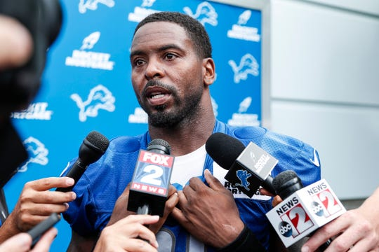 Lions safety Tavon Wilson talks to media after practice during training camp in Allen Park on Friday, July 27, 2018.