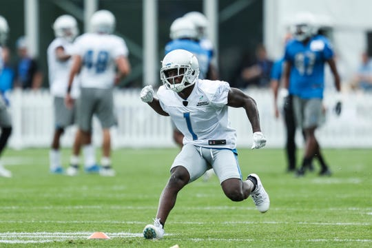 Lions wide receiver Brandon Powell practices during training camp in Allen Park on Friday, July 27, 2018.