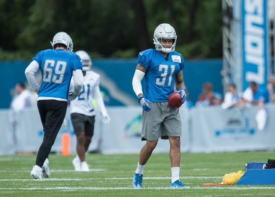 Lions cornerback Teez Tabor practices during training camp in Allen Park on Friday, July 27, 2018.