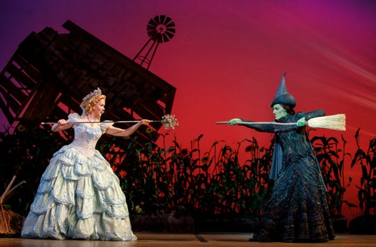 "Ginna Claire Mason and Mary Kate Morrissey as Glinda and Elphaba in ""Wicked."""