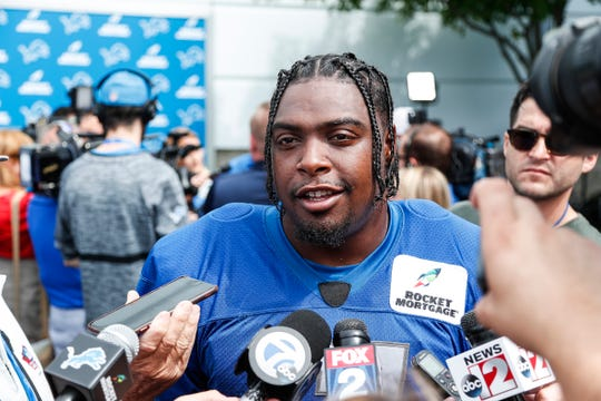 Lions defensive end Kerry Hyder Jr. talks to media after practice during training camp in Allen Park on Friday, July 27, 2018.
