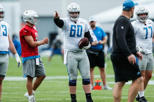 Lions center Graham Glasgow practices during training camp in Allen Park on Friday, July 27, 2018.