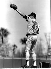 Jack Morris on the mound during spring training in  Lakeland in 1984