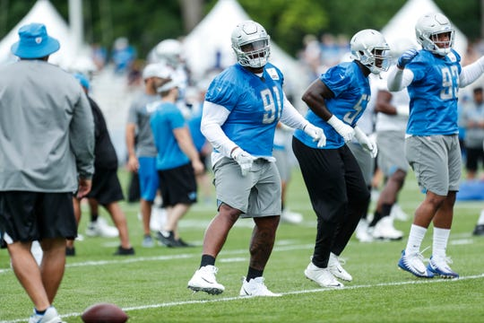 Lions defensive tackle A'Shawn Robinson practices during training camp in Allen Park on Friday, July 27, 2018.