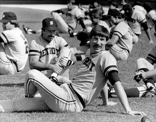 Jack Morris during stretching at spring training in Lakeland in 1984.