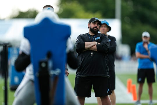 Lions coach Matt Patricia watches practice during training camp in Allen Park on Friday, July 27, 2018.